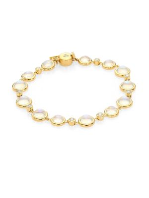 Single Round Diamond, Royal Blue Moonstone & 18K Yellow Gold Bracelet
