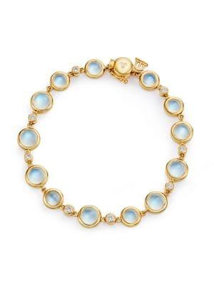 Single Round Diamond, Royal Blue Moonstone & 18K Yellow Gold Bracelet