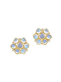 Temple St. Clair - Royal Blue Moonstone & 18K Gold Cluster Earrings