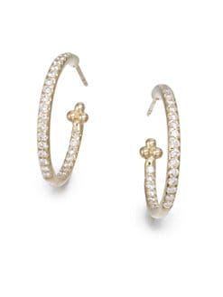 Temple St. Clair - Pavé Diamond & 18K Gold Hoop Earrings