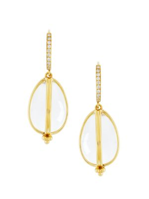 Classic Rock Crystal, Diamond & 18K Yellow Gold Amulet Drop Earrings