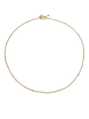 TEMPLE ST. CLAIR Classic Karina White Sapphire & 18K Yellow Gold Station Necklace