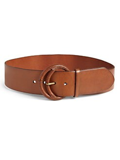 Ralph Lauren Blue Label - Crescent-Buckle Leather  Belt