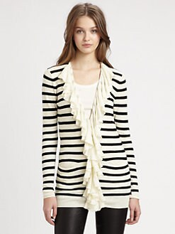 Ralph Lauren Blue Label - Ruffle-Trim Striped Cardigan