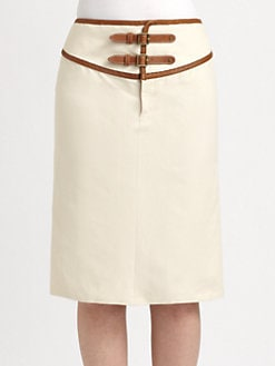 Ralph Lauren Blue Label - Leather-Trimmed Skirt