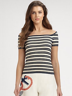 Ralph Lauren Blue Label - Square-Neck Striped Top