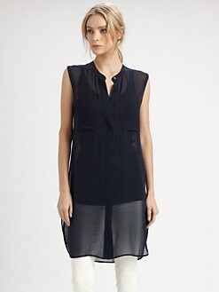 Vince - Sleeveless Silk Tunic Top
