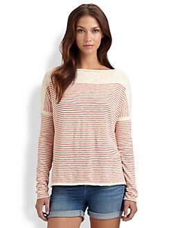 Vince - Side Stripe Slub Cotton Sweater