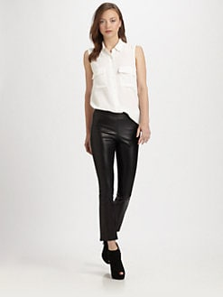 Vince - Cropped Stretch-Leather Leggings
