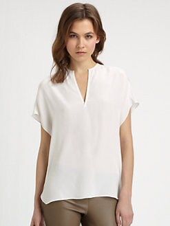 Vince - Split-Neck Silk Blouse