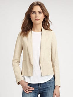 Vince - Cropped Linen-Blend Blazer