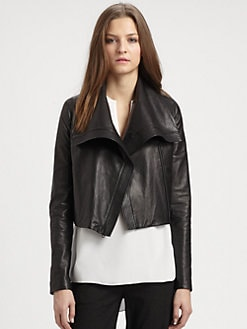 Vince - Cropped Leather Jacket