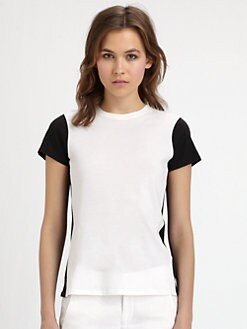 Vince - Two-Tone Cap-Sleeve Tee Shirt
