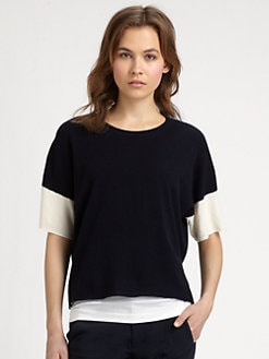 Vince - Cashmere Crop-Sleeve Top