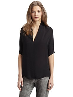 Vince - Drape-Neck Silk Top