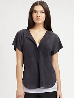 Vince - Suede Half-Placket Top