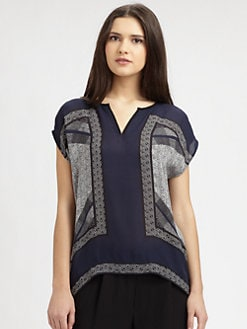 Vince - Silk Splitneck Top