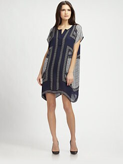 Vince - Silk Half-Placket Tunic Dress