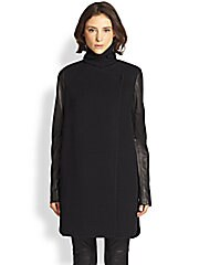Leather-Sleeved Wool-Blend Coat