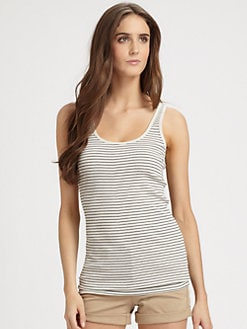 Vince - Striped Scoopback Tank Top