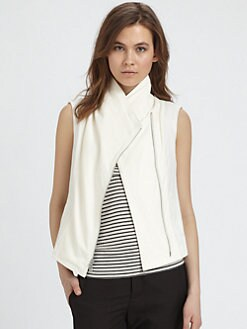 Vince - Asymmetric Leather Panel Vest