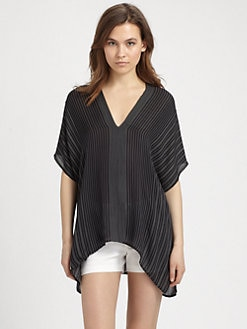 Vince - Striped Silk Blouse