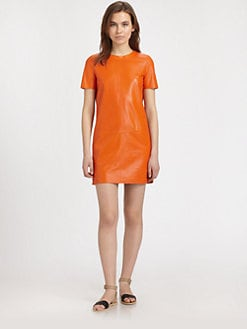 Vince - Perforated Leather Shift Dress
