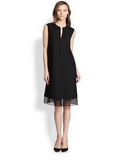 Vince - Silk-Trimmed Dress
