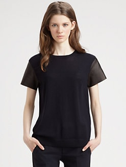 Vince - Merino Leather-Sleeve Tee