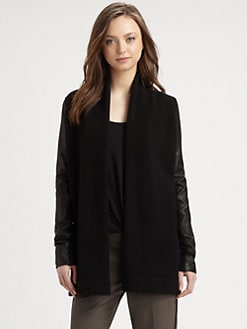 Vince - Leather Panel Drapey Sweater