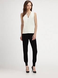 Vince - Leather & Silk Top