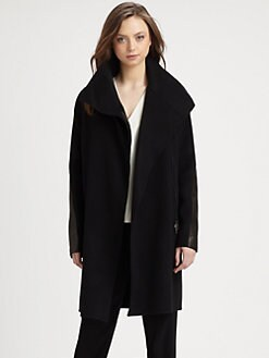 Vince - Leather-Accented Asymmetrical Coat