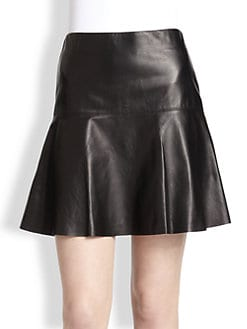 Vince - Leather Fit-&-Flare Skirt