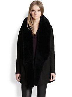 Vince - Draped Shearling & Leather Coat