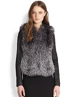 Vince - Silver Fox Fur & Leather Coat