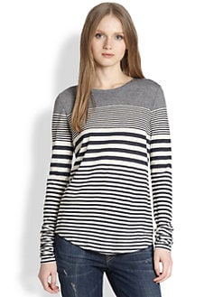 Vince - Striped Shirttail Jersey Tee