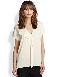 Vince - Stretch Silk Asymmetrical Draped-Panel Top