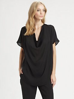 Vince - Cap-Sleeve Cowlneck Top