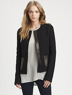 Vince - Leather-Trim Jacket