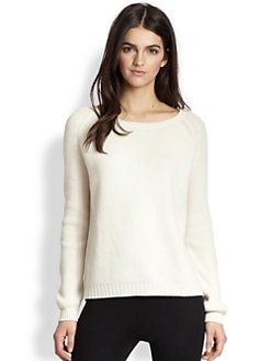 Vince - Leather Elbow Patch Ribbed Wool & Cashmere Sweater
