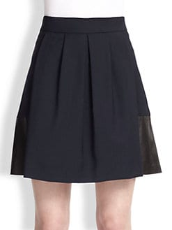 Vince - Leather-Paneled Stretch Wool Skirt