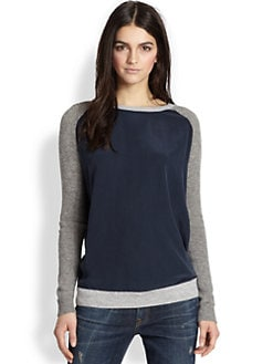 Vince - Cashmere, Alpaca, Wool Knit & Silk Colorblock Sweater
