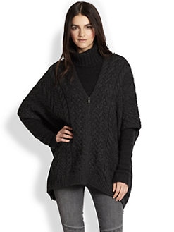 Vince - Zip-Front Yak & Wool Cable-Knit Poncho