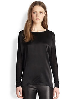 Vince - Silk Satin & Burnout Jersey Top