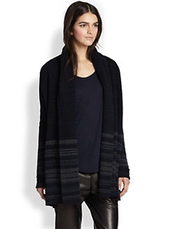 Vince - Striped Yak & Wool Cardigan