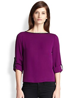 Alice + Olivia - Leather-Trimmed Roll Sleeve Top