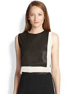 Alice + Olivia - Lest Silk & Leather-Paneled Cropped Top
