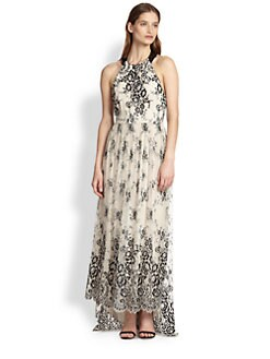 Alice + Olivia - Isla Leather-Trimmed Floral Lace Maxi Dress