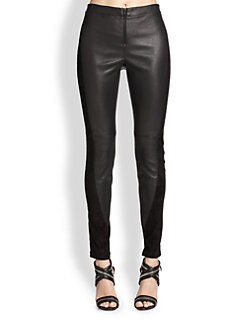 Alice + Olivia - Leather & Suede Front Zip Leggings
