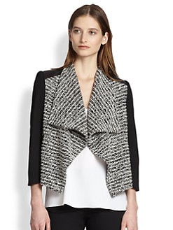 Alice + Olivia - Burma Leather-Paneled Draped Tweed Jacket
